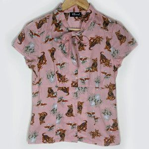 Revival Pink Yorkshire Terrier Bow blouse size 8